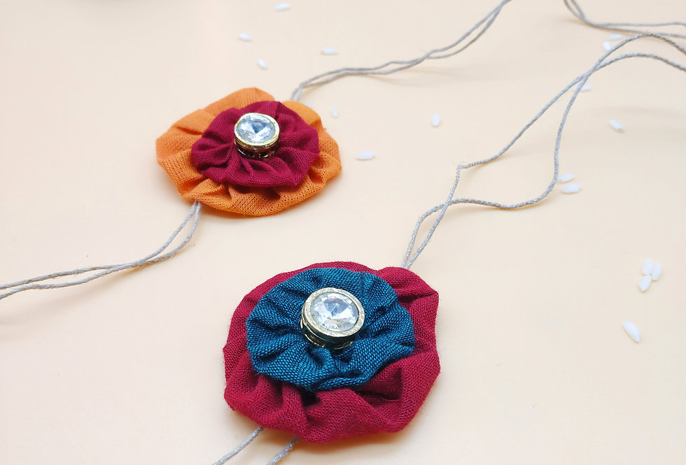 Set of 2 Handmade Fabric Flower Rakhi combo