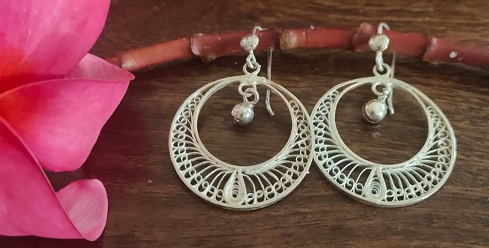 Silver Filigree Stylized Round Earrings
