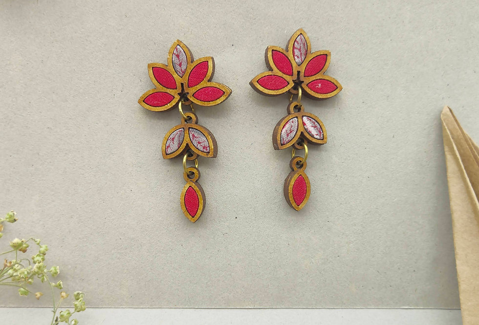 Leaf Motif Repurposed Fabric and Wood Red Earring