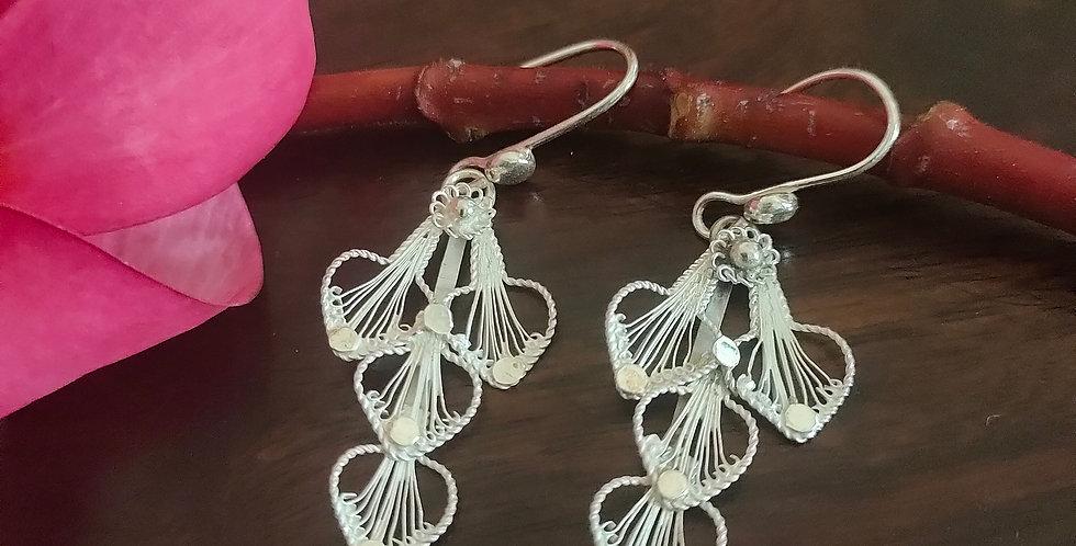Silver Filigree Abstract Dangle Earrings
