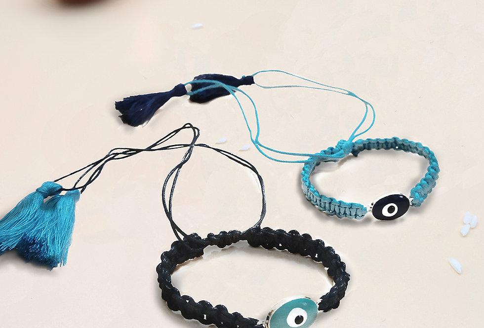 Whe Set of 2 Evil Eye Macrame Bracelet