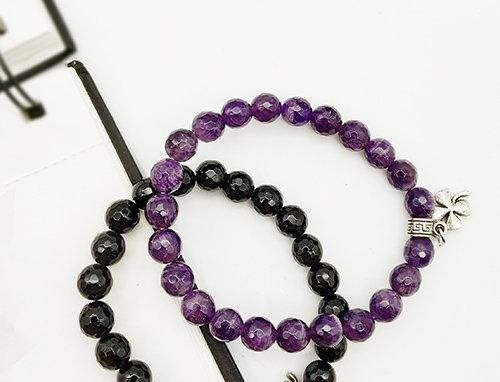Whe Unisex Set of 2 Genuine Black Onyx and Amethyst Gemstone Bracelet
