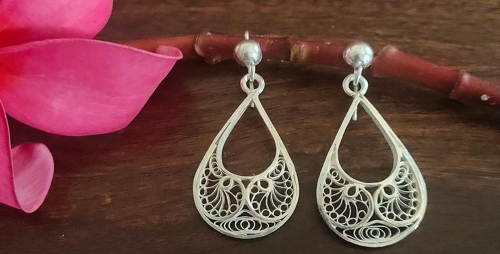 Silver Filigree Drop Earrings with Motifs