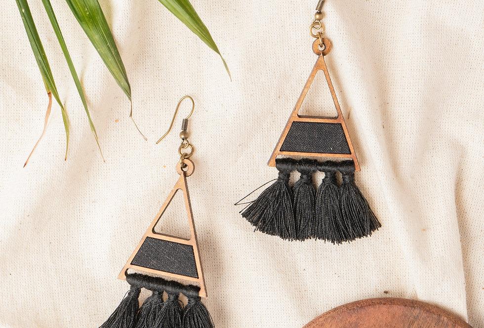 Black triangle tassel earring