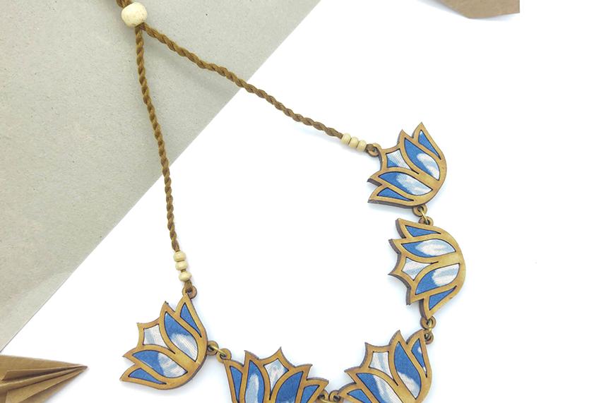 Lotus Repurposed Fabric and Wood Indigo Necklace