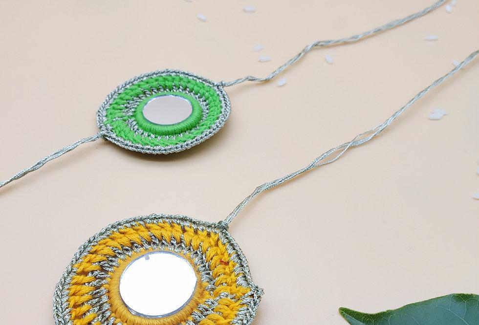 Set of 2 Handmade Crochet Mirror Rakhi combo