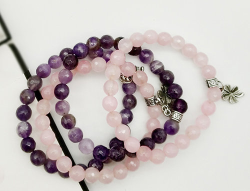 Whe Unisex Set of 4 Genuine Rose Quartz and Amethyst Love Gemstone Bracelet