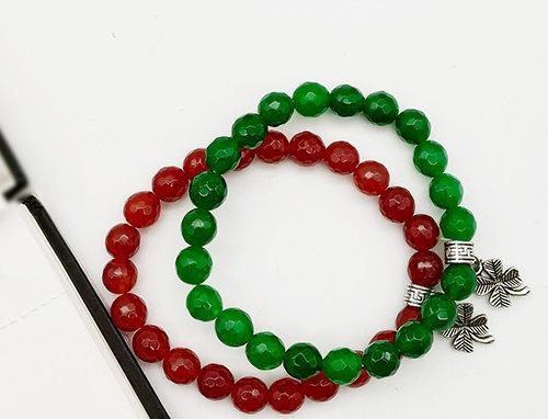 Whe Unisex Set of 2 Red and Green Dyed Quartz Gemstone Bracelet