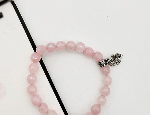 Whe Genuine Gemstone Rose Quartz Love Bracelet