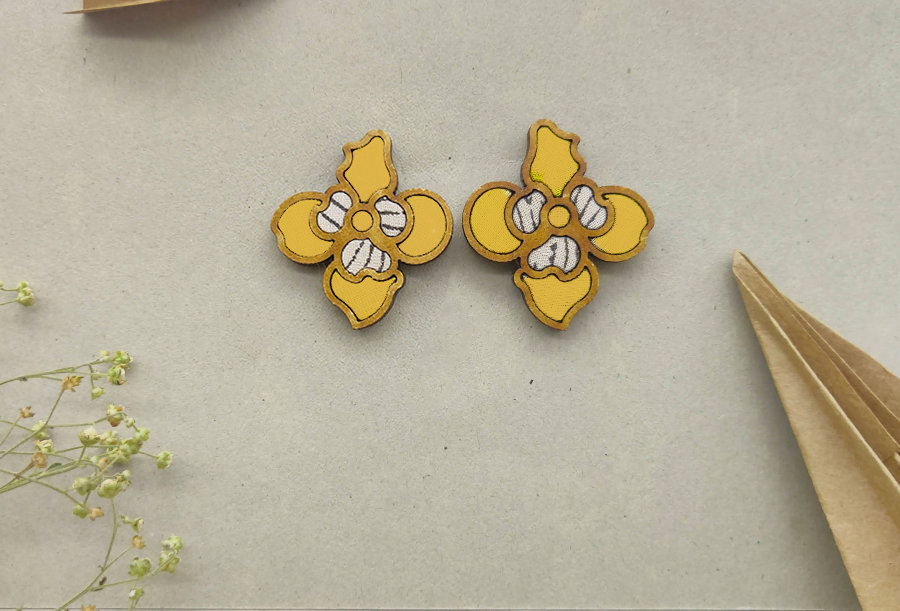 Floral Repurposed Fabric and Wood Yellow Stud