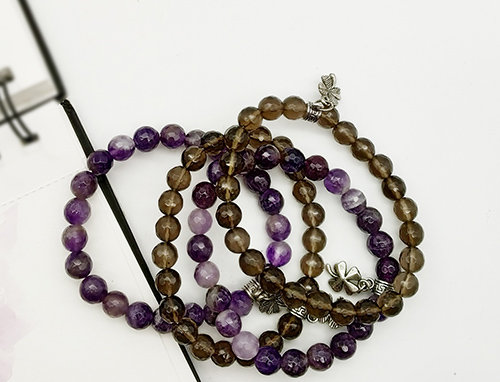 Whe Unisex Set of 4 Genuine Smoky Quartz and Amethyst Gemstone Bracelet