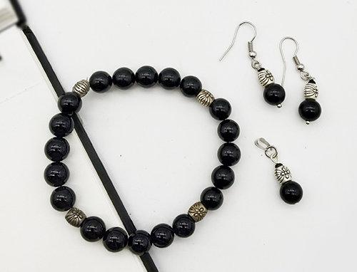 Whe Genuine Gemstone Black onyx Bracelet, Pendant and Earring Combo