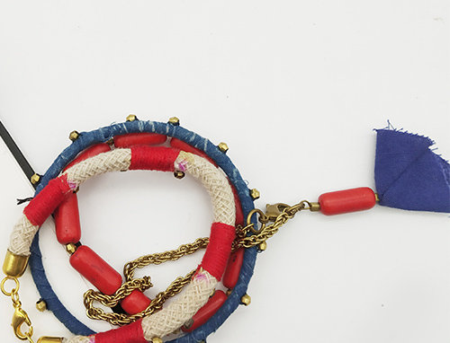 Whe Set of 4 Handmade Red and Blue Bracelets
