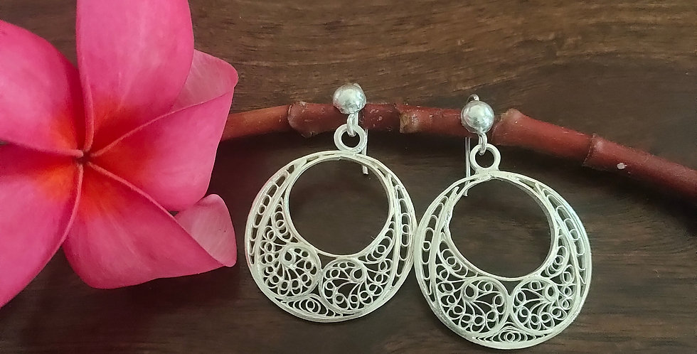 Silver Filigree Round Earrings with Motifs