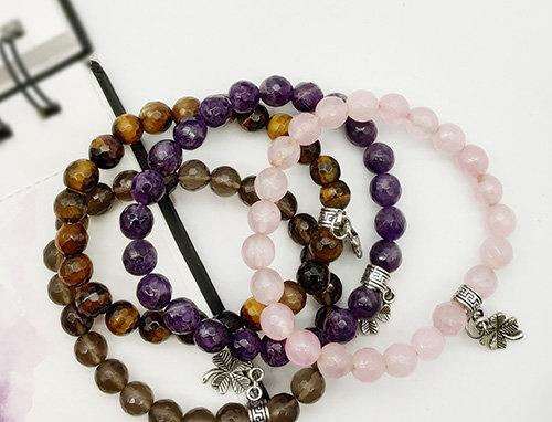 Set of 4 Smoky Quartz, Rose Quartz, Amethyst and Tiger Eye Gemstone Bracelet