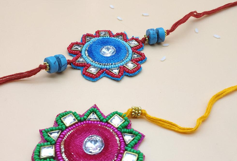 Set of 2 Handmade Kundan and Glassbead Rakhi combo