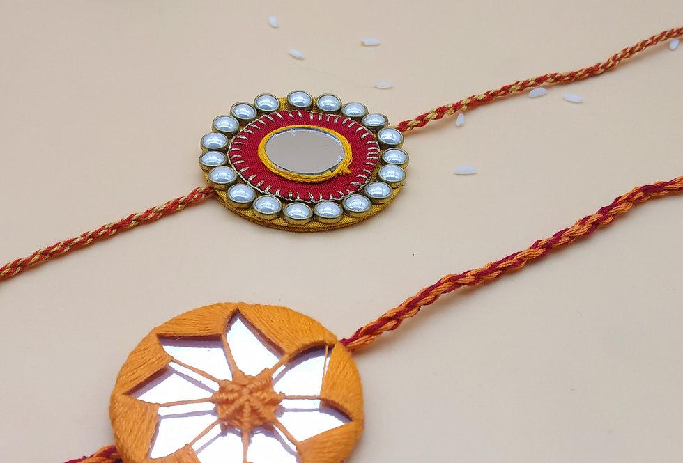 Set of 2 Handmade Fabric and Mirror Rakhi combo