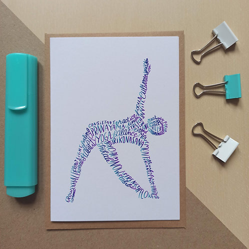 Yoga Triangle pose /Utthita Trikonasana  card