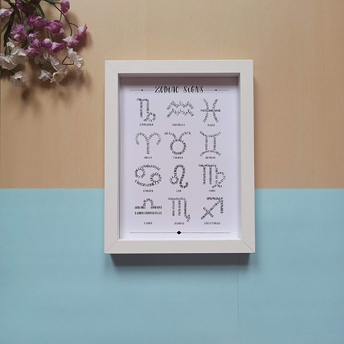 Printable 12 zodiac signs - black and white