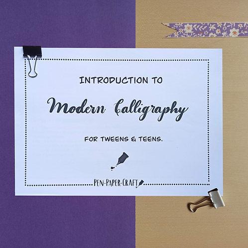 Printable Modern Calligraphy Workbook (for Tweens and Teens)