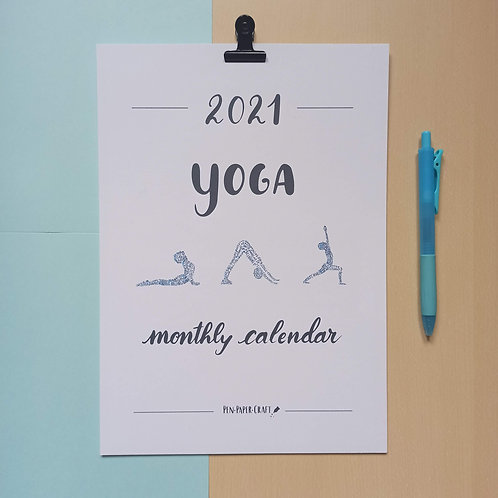 Printable Yoga calligraphy calendar - colour lower case