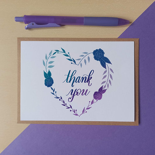 Thank you in a wreath card