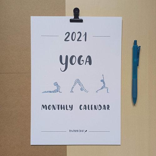 Printable Yoga calligraphy calendar - colour upper case