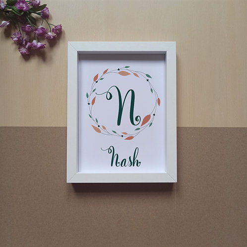 Letter in wreath (N to Z) print