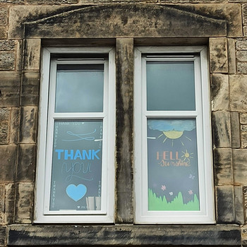 Handlettered windows to cheer up our street during lockdown