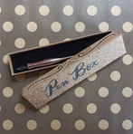 Handlettered pointed pen cardboard box