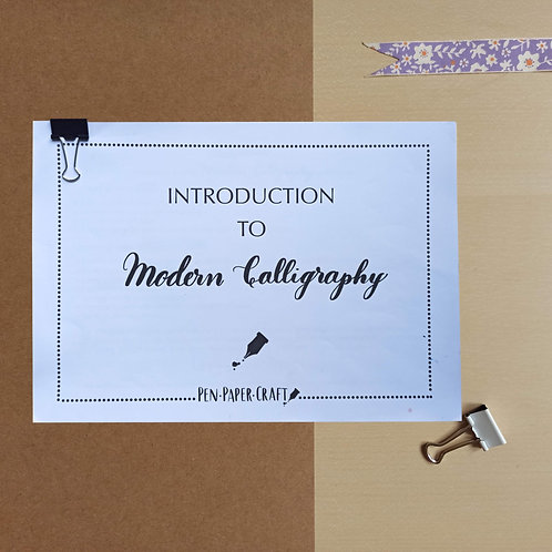 Printable Introduction to  Modern Calligraphy Workbook (with video)