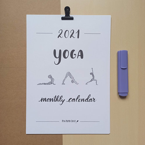 Printable Yoga calligraphy calendar - black lower case