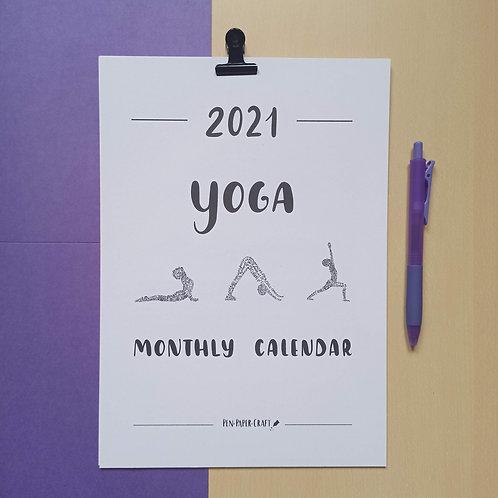 Printable Yoga calligraphy calendar - black upper case
