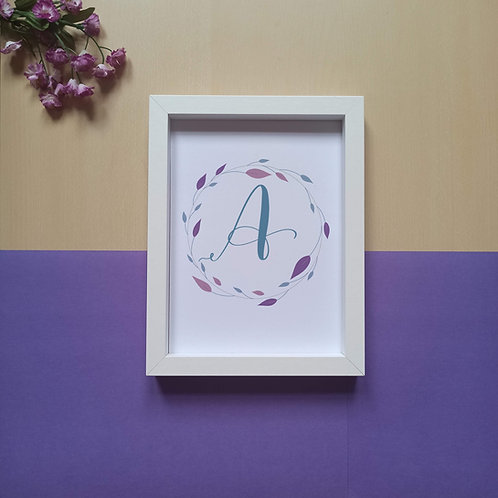 Letter in wreath (A to M) print
