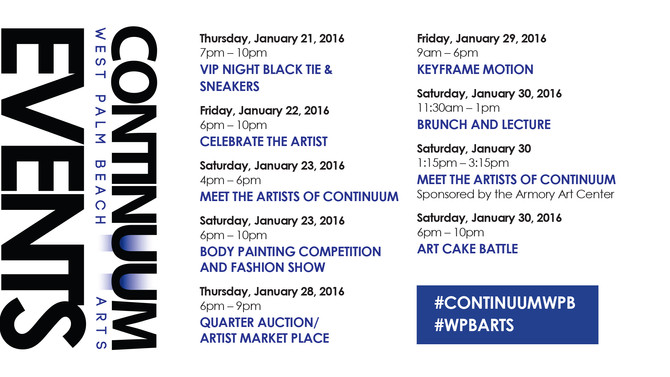 Stop by on Thursday for our opening at CONTINUUM West Palm Beach Arts 522 Clematis Street, Downtown