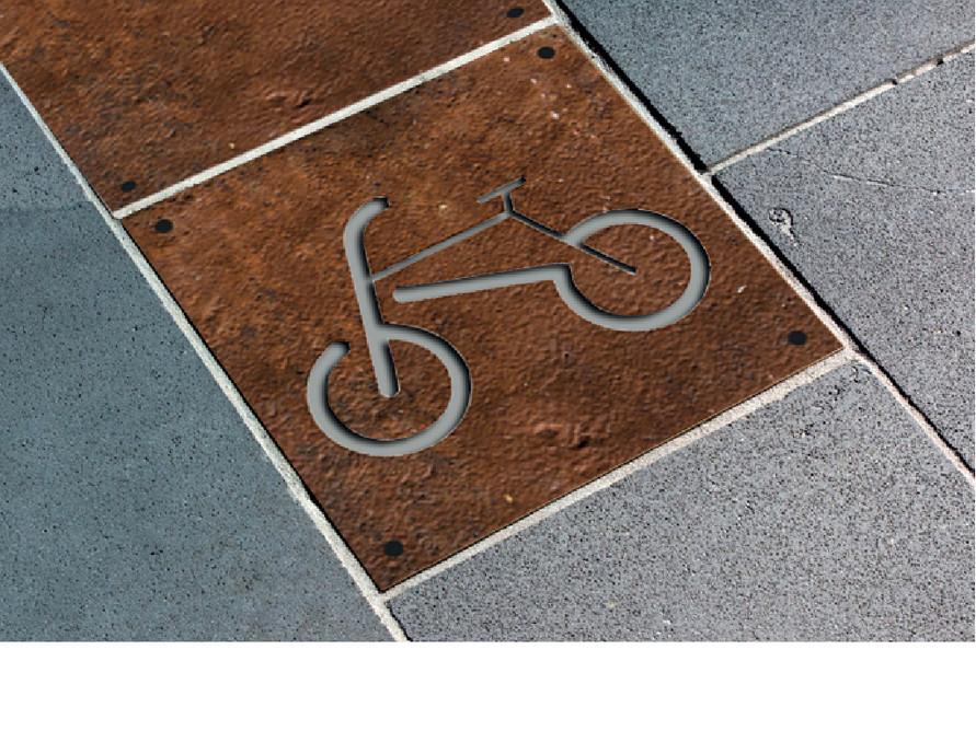 Pictogram applied on metal tile