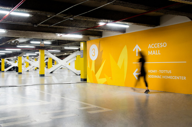Environmental graphics in parking area