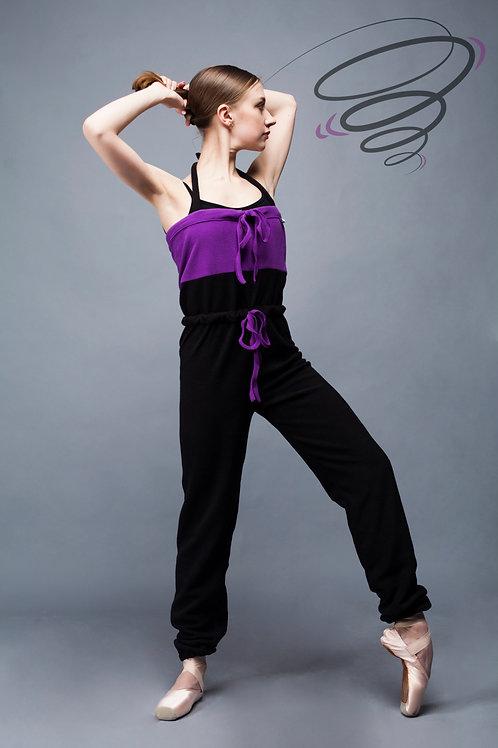 КФР-05. Комбинезон разогревочный флисовый фиолетовый + черный.