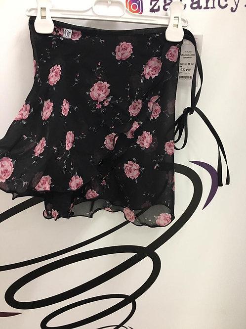 Юбка цветная (черная с розочками) С-02