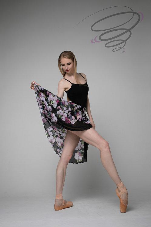 Юбка цветная (черная с крупными розами) С-15