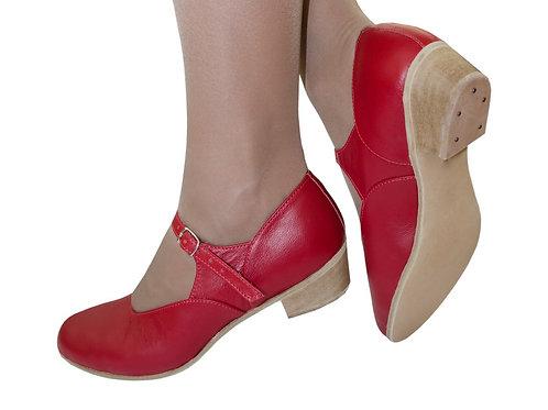 Туфли для народно-характерного танца красные