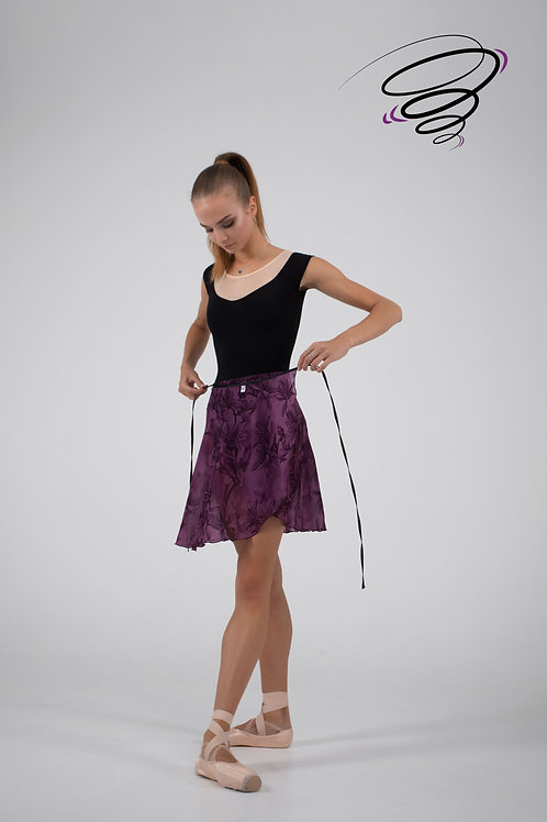 Юбка цветная (фиолетовая с цветами) С-22