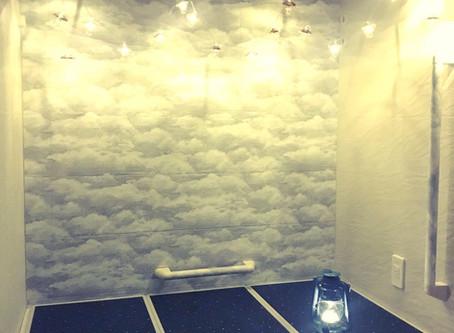 【風水】壁紙とライトで浴室を美しく変えた好事例💛