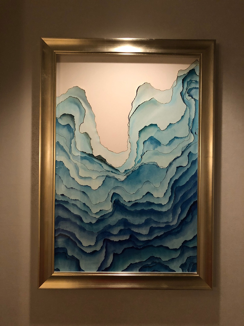 風水アート 風水玄関に波の絵