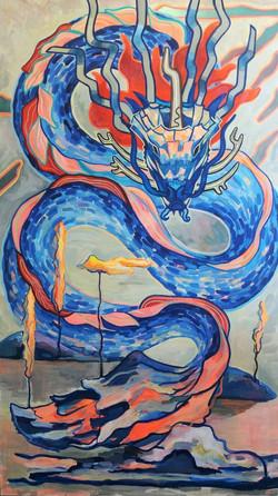 Dragon of Lapland 2018 acrylic-paper 200-115cm