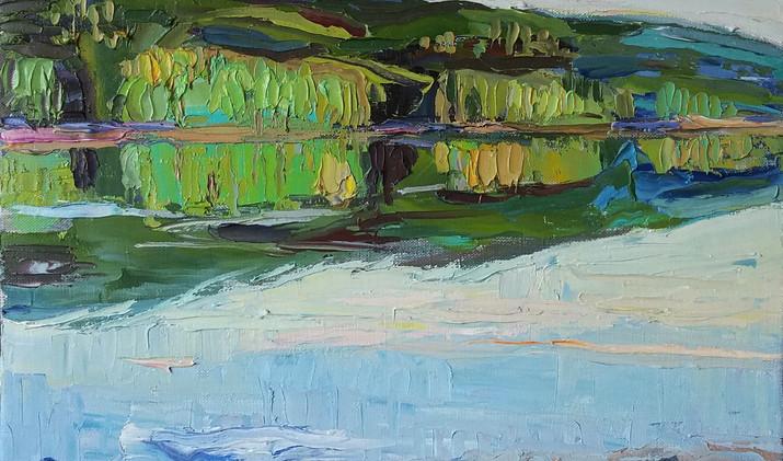 Evening reflection 2019 40-40 cm oil canvas