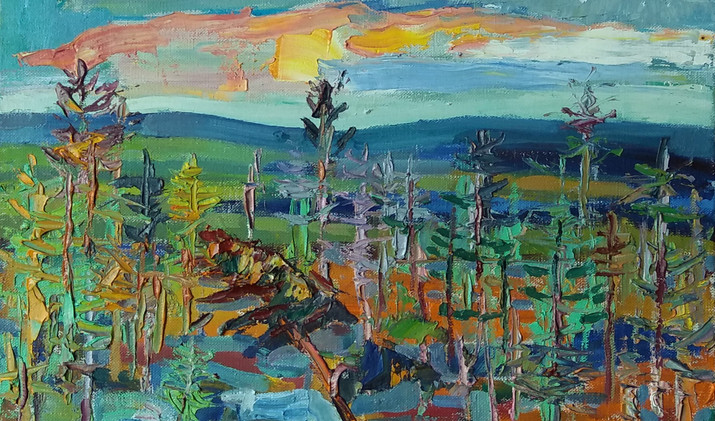 Pines on the stones 2019 40-40 cm oil canvas