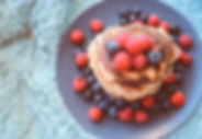 Pancakes with blueberries and raspberrie