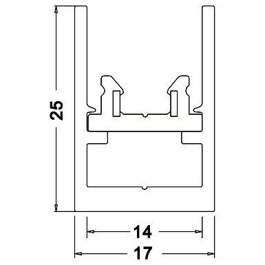 MINI RAIL D'ÉCLAIRAGE 17 x 25 longueur 1000mm TOBI SYSTEM - TORS