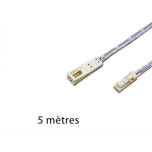PROLONGATEUR 24V 5M AVEC CONNECTEURS  MALE/ FEMELLE BLANCS - 24FMBM5000